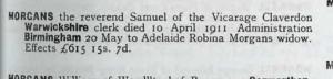 1911 Samuel Morgans dies