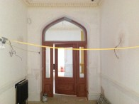 2014 Dec New doors and panelling at the arched doorways, Crossbasket Castle (PV)