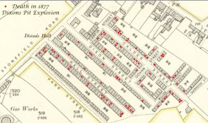 1877 Red dots showing deaths at Dixons Rows of the miners in the pit explosion