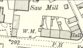 "1910 Adams Sawmill Map showing ""WM"", the Weighing Machine. Main Street."