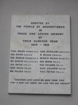 The Auchentibber War Memorial wording on Post WW2 plaque