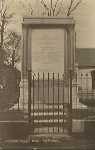1920s Auchentibber War Memorial with large plaque