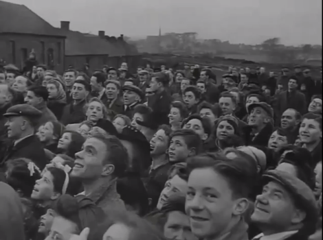 1947 Dixons Pit crowd hositing NCB flag