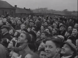 1947 Dixons Pit3 Crowd watching NCB flag get hoisted at High Blantyre (PV)