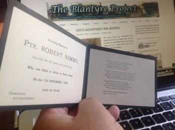 1918 Robert Nimmos Funeral Service card