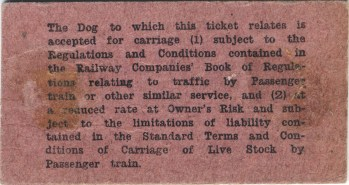 1930s Reverse of Dog Ticket for Train (High Blantyre)