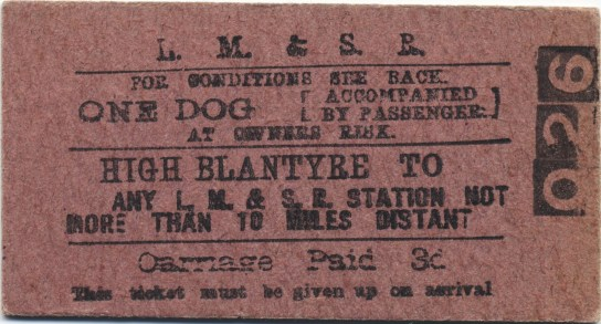 1930s Dog Train Ticket, by G Cook (High Blantyre)