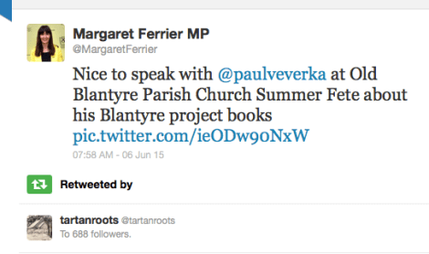 Margaret Ferrier tweets about Blantyre Project