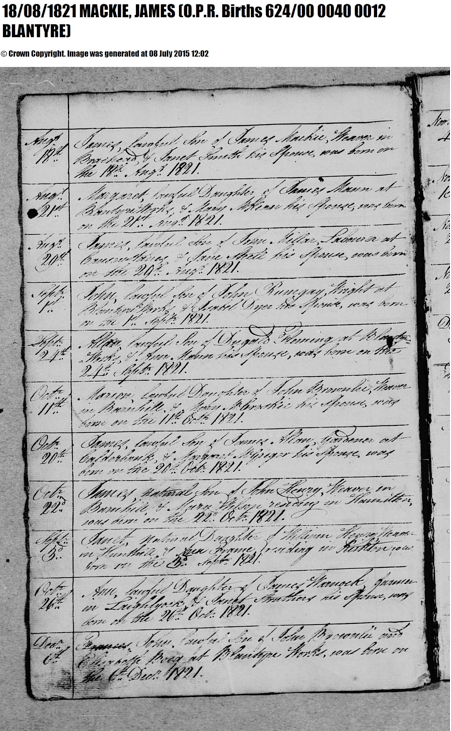 James Mackie Birth record 1821