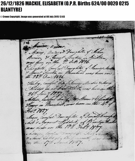 Elisabeth Mackie birth record 1826