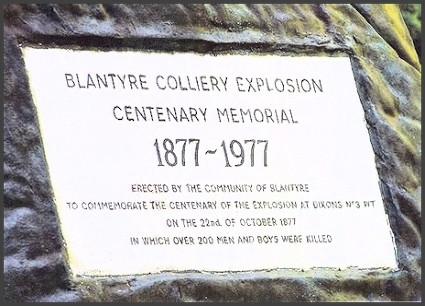 Blantyre plaque to pit disaster, high Blantyre.
