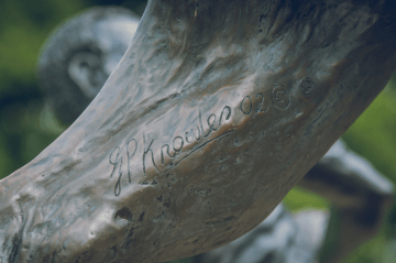 2015 Gareth Knowles signature on Livingstone Lion. Photo by Stephen Summers