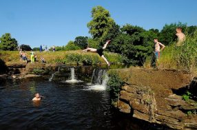 2013 19th July. Milheugh falls by J Brown