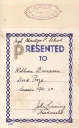 1951 Dux High Blantyre Primary, William Duncan