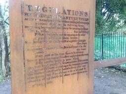 2015 Ferry Regulations engraved on shelter