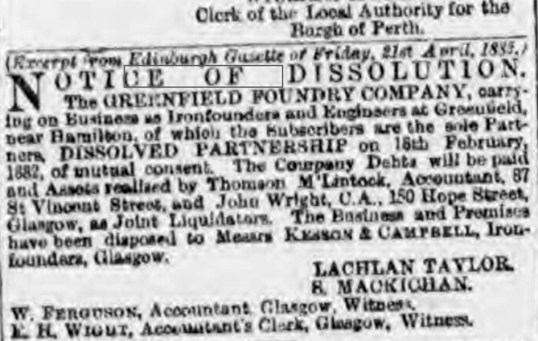 1882 dissolution Greenfield