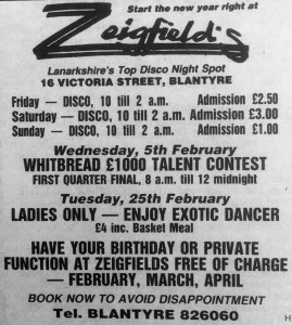1986 Zeigfields advert