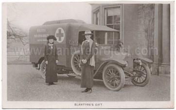 1915 Rare photo Blantyre Ambulance at Milheugh House
