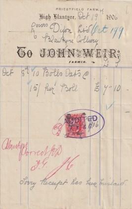 Dixon receipt John Weir