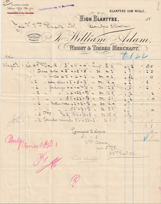 Dixon receipt William Adam