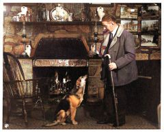 1970s Bobby Brown with Sally by Hasties Farm fireplace-Colorized