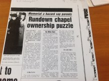 1989 Local Story about Cochrane Chapel