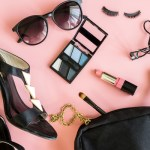 women cosmetics and fashion items isolated on pink background, Top view