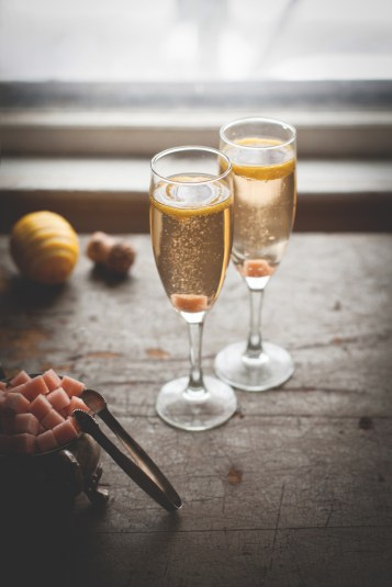 Champagne Cocktail with sugar cube
