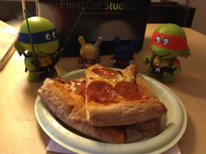 I got to keep Leo and Mikey! They had a pizza party at my work desk