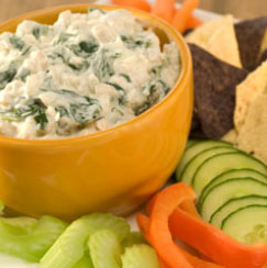 Creamy spinach and hearts of palm dip
