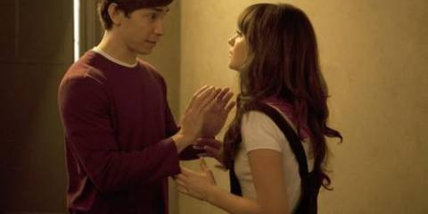 Paul (Justin Long) admitting to Jess (Zooey Deschanel) that her S&M tactics scare him.