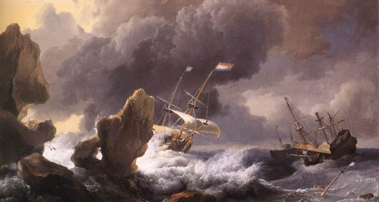 Backhuysen's Ships in Distress off a Rocky Coast (1667)