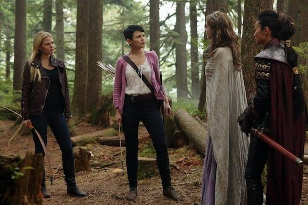 Emma (Jennifer Morrison) Snow (Ginnifer Goodwin) Sleeping Beauty (Sarah Bolger) and Mulan (Jaime Chung) work out away to get Emma and Snow back to Storybrooke.