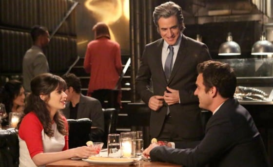 Jess's (Zooey Deschanel) ex-boyfriend Russell (Dermot Mulroney) runs into her and Nick (Jake Johnson) on their first date.
