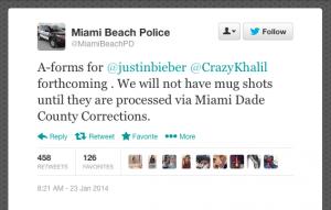 A tweet by @MiamibeachPD following Justin Bieber's arrest.