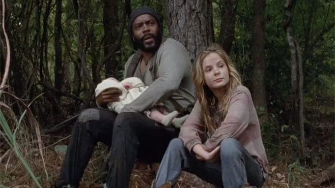 This week's episode of The Walking Dead features Tyreese (Chad Coleman) and Lizzie (Brighton Sharbino) as well as Carol and Mika