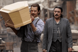"Seth Bullock and Albert ""Swejen"" Swearengen in the critically acclaimed, Deadwood"