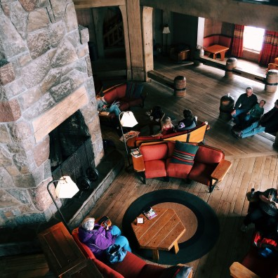 The lobby of Timberline Lodge