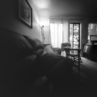 Self reclining on couch - #pinhole self portrait