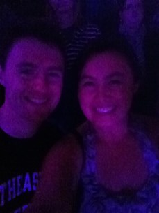 Charlie and I with my blurry front camera in the dark