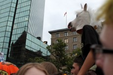 And the horse heads are in now. This kid crowd-surfed like no other.
