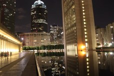 Reflecting Pool: The Prudential Center and fountain at the end of the pool, with the Christian Science Center to the left