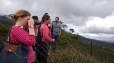 The team exploring a volcano on our first day. No, this is not the one that just erupted.