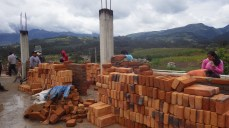 Piles of bricks that would be used. The wall eventually reached the top of that cement pole!