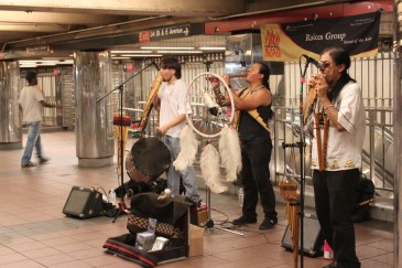 Band playing on the subway somewhere between Korea Town and Roosevelt Island