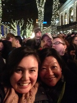 Freezing but happy at the tree lighting