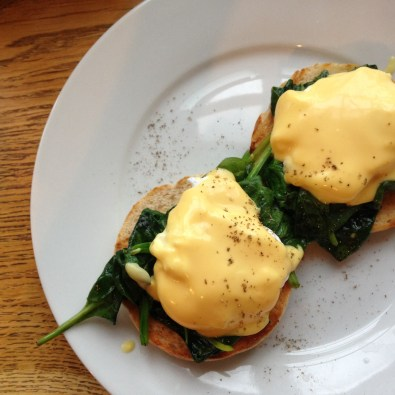 Eggs Florentine at Alfie's Antiques rooftop cafe