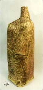 Ceramic bottle 42cm. Torn clay.