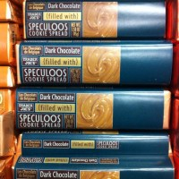 Dark chocolate bars filled with Speculoos cookie butter, available at Trader Joe's (of course)