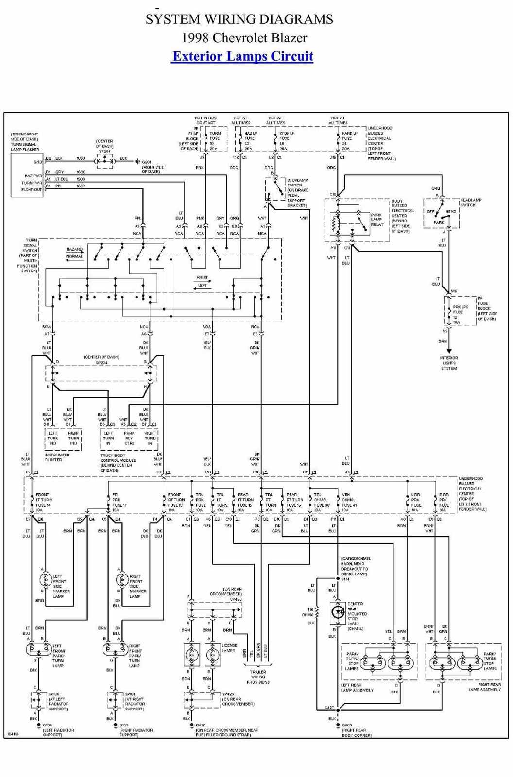 2001 chevy s10 wiring schematic